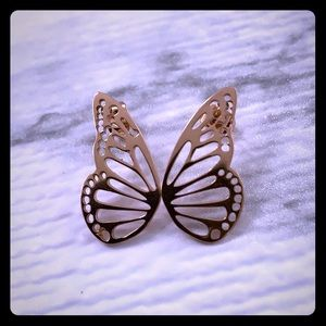 BUTTERFLY WINGS ROSE GOLD EARRINGS